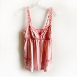 Aerie babydoll cami tank top coral lace sleeveless